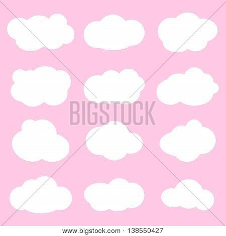 Vector illustration of clouds collection. Sky weather nature clouds design and abstract cloudy space. Clouds climate cartoon symbols and different clouds design. Clouds collection fluffy icons.
