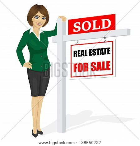 Female real estate agent standing next to a sold for sale sign on white background