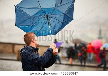 Man In Rainy Day