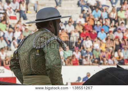 Jaen Spain - September 12 2008: Picador bullfighter lancer whose job it is to weaken bull's neck muscles in the bullring for Jaen Spain