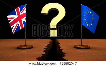 Brexit questions on consequences concept with Union Jack and EU flag separated by a question mark on a broken desk 3D illustration.