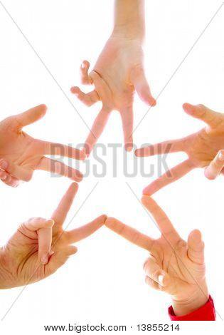 Photo of joyful children making star by their finger