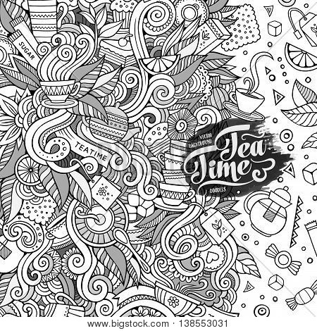 Cartoon cute doodles hand drawn teatime illustration. Line art detailed, with lots of objects background. Funny vector artwork. Sketch picture with tea time theme items. Square composition