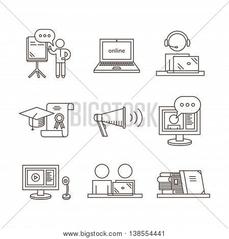 Webinar and Online Seminar thin line Icons. Distance education concept, vector set.