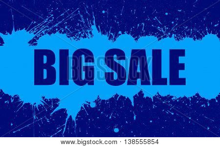 Vector Sale Banner With Bright Ink Blue Color Blots over Dark Blue Background. Each element separate on layers for easy use and recolor. Background for business, sale, trade and other promo designs.
