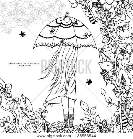 Vector illustration Zen Tangle a girl with an umbrella in the park. Doodle drawing. Coloring book anti stress for adults. Black and white.