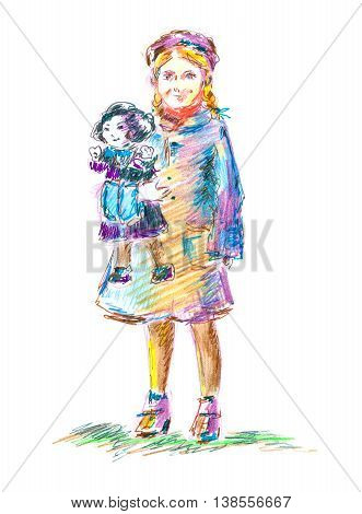 Little girl with big doll. Clothes by fashion of 50s, vintage style. Hand drawn graphics illustration. Imaginary person. Pretty face with smile, colorful painting. For kid's room, prints.