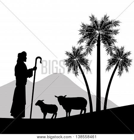 Merry Christmas and holy family concept represented by the shepherd and his sheeps icon. Silhouette and flat illustration.