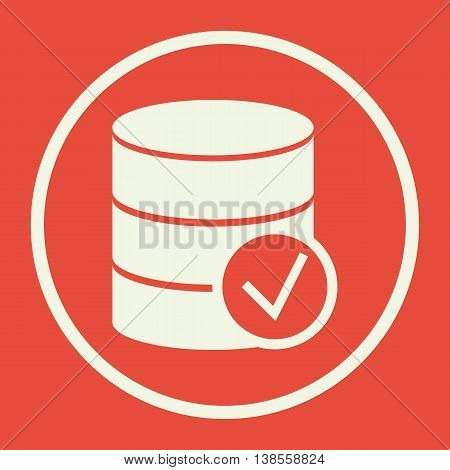 Database Accept Icon In Vector Format. Premium Quality Database Accept Symbol. Web Graphic Database Accept Sign On Red Background. poster
