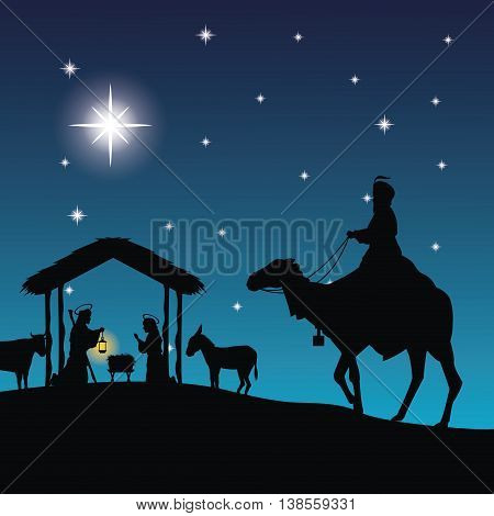 Merry Christmas and holy family concept represented by joseph, maria and jesus icon. Silhouette and flat illustration.