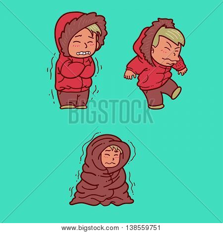 Vector Illustration of a man getting cold
