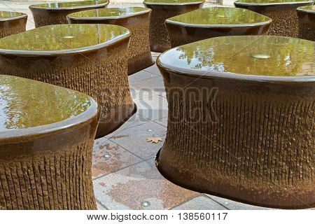 ADELAIDE, AUSTRALIA - APRIL, 2016 : Fountains, part of water feature 14 Pieces in front of South Australian Museum in Adelaide, South Australia on April 18, 2016.