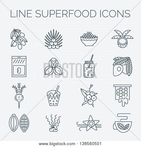 Acai, cocoa, goji, guarana, spirulina, coconut, quinoa, camu camu, maca, honey, vanilla, kelp. Organic superfoods for health and diet. Detox and weightloss supplements.
