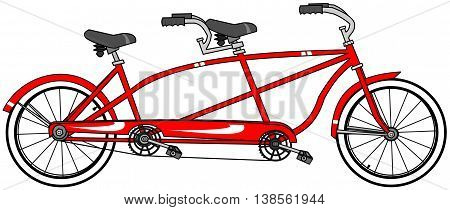 Illustration of a red tandem bicycle with large whitewall tires.