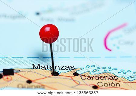 Matanzas pinned on a map of Cuba