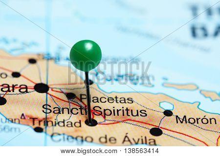 Sancti Spiritus pinned on a map of Cuba