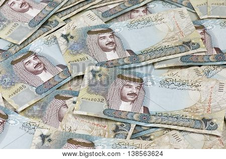 Random placement of 20 Bahraini Dinar Notes