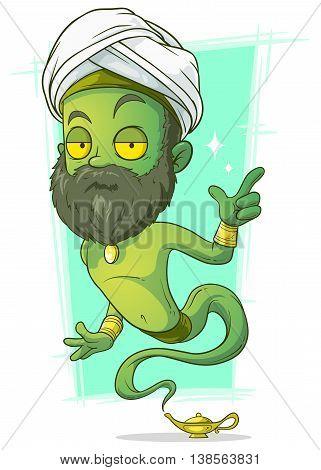 A vector illustration of cartoon old green jinn with beard