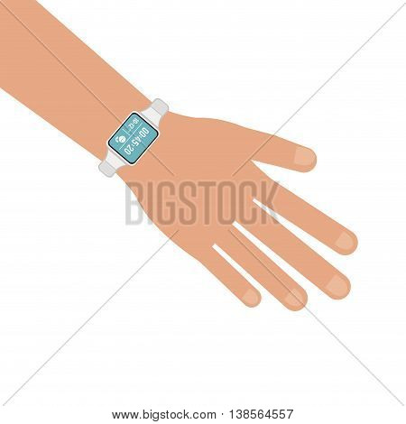 flat design hand with watch icon vector illustration