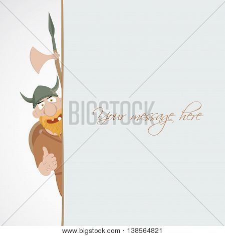 Funny cartoon viking with thump up emerge from the banner