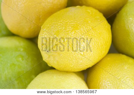 Close-up of wet lemons with water drops