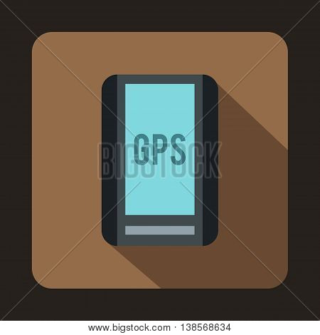 Global Positioning System icon in flat style on a coffee background
