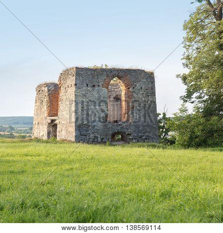 Ruins of old castle in Svirzh, Ukraine