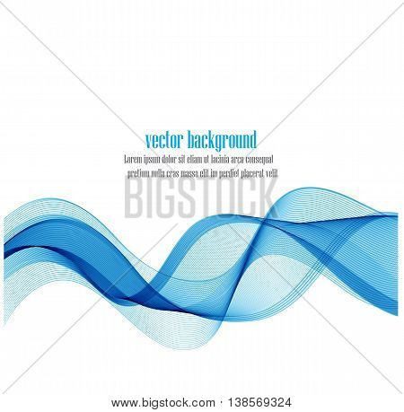 Abstract smooth color wave vector. Curve flow blue motion illustration. Smoke blue wave design. Vector lines.