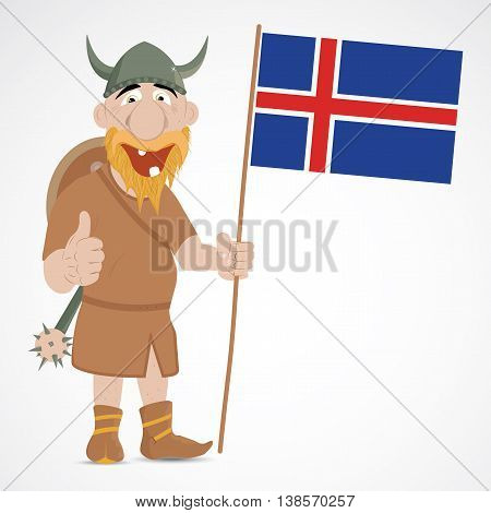 Funny cartoon viking with thump up and holding Icelandic flag