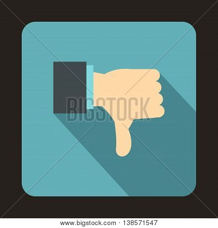 Thumb down gesture icon in flat style on a baby blue background