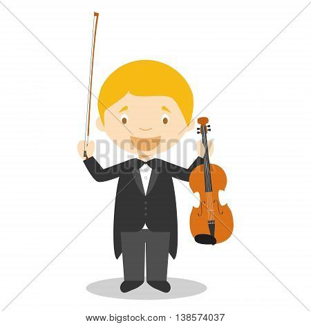 Cute cartoon vector illustration of a classic musician or a violinist