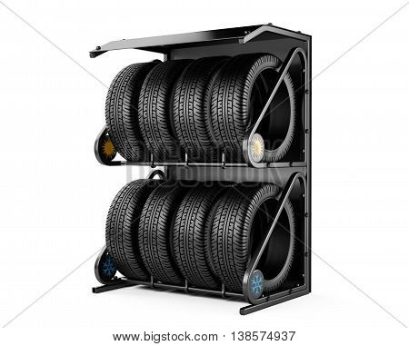 Summer and winter tires set for sale at a tire store. 3d image isolated on a white background.