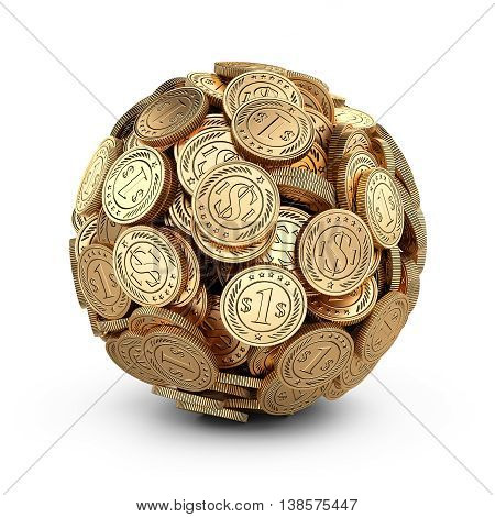 Gold coins assembled in a form sphere isolated on white background. Business success concep 3d.