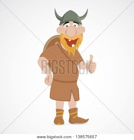 Funny positive cartoon viking showing thump up