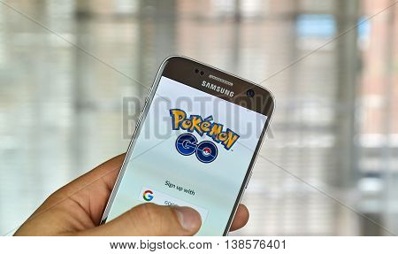 MONTREAL CANADA - JULY 14 : Pokemon Go on Samsung s7 screen. Pokemon Go a free-to-play augmented reality mobile game developed by Niantic for iOS and Android devices.