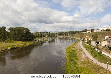 View of the historic center of Grodno and Neman River. Belarus