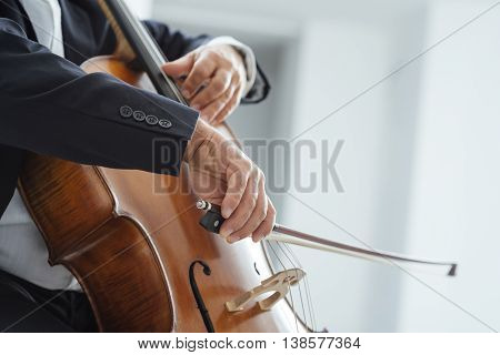 Classical music professional cello player solo performance hands close up unrecognizable person poster