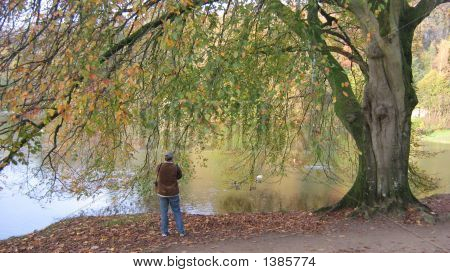 A Photographer Standing Alone Taking Photo Of Lake.Fall