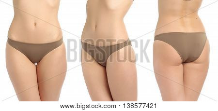 Beautiful Slim Female Buttocks Isolated On White Background