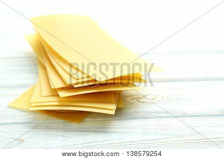 Lasagne Sheets Pasta On A Blue Wooden Table