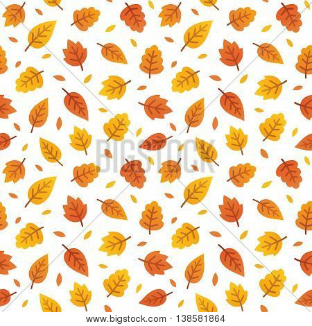 Autumn leaves seamless pattern. Scattered colorful yellow and orange leaves on white background. Vector illustration.
