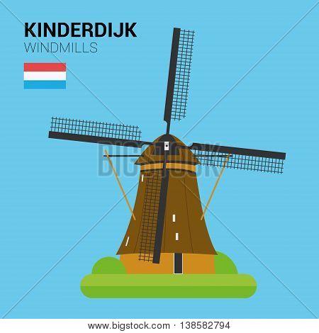 Monuments and landmarks Vector Collection: Kinderdijk Windmills. Descripción: Vector illustration of Kinderdijk Windmills (Kinderdijk, Netherlands). Monuments and landmarks Collection. EPS 10 file compatible and editable.