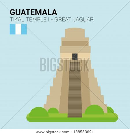 Monuments and landmarks Vector Collection: Tikal, Great Jaguar Temple. Descripción: Vector illustration of Tikal, Great Jaguar Temple (Tikal, Guatemala). Monuments and landmarks Collection. EPS 10 file compatible and editable.
