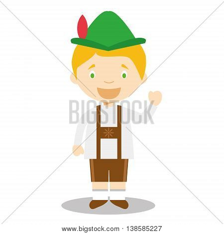 Character from Germany dressed in the traditional Bavarian way. Vector Illustration. Kids of the World Collection.