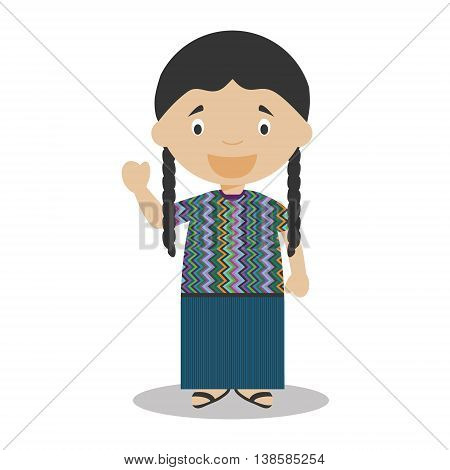 Character from Guatemala dressed in the traditional way Vector Illustration. Kids of the World Collection.