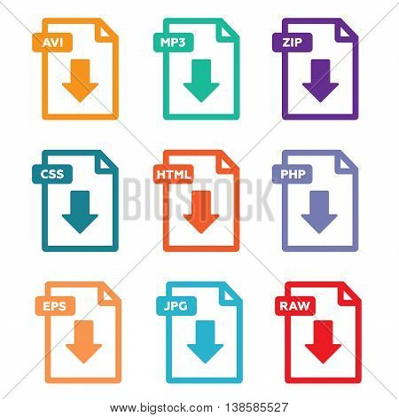 Set of file formats icons vector illustration eps 10