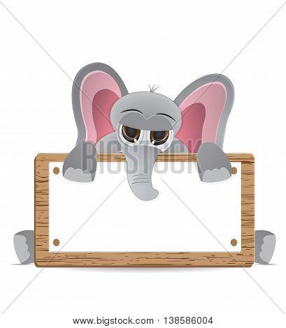 cute cartoon elephant peek behind text box
