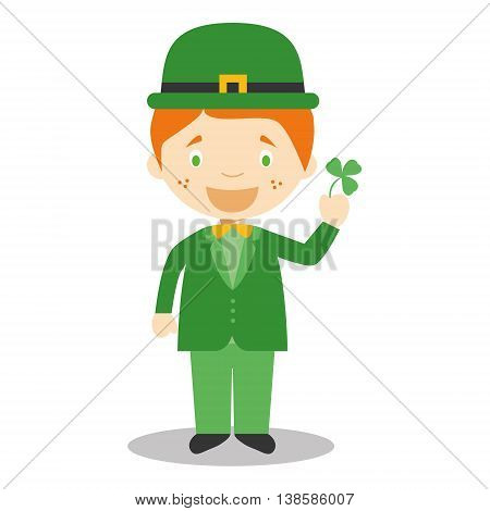 Character from Ireland dressed in the traditional way with a clover. Vector Illustration. Kids of the World Collection.