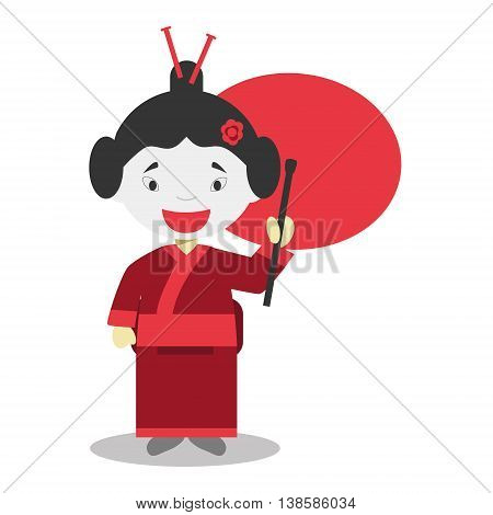 Character from Japan dressed in the traditional way Vector Illustration. Kids of the World Collection.