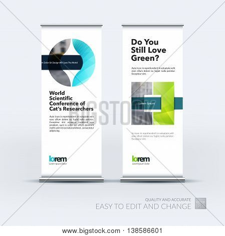 Vector set of modern roll up banner stand design with blue circle geometric shapes with overlap effect for business with construction and industrial concept. Corporate vector vertical flyer.